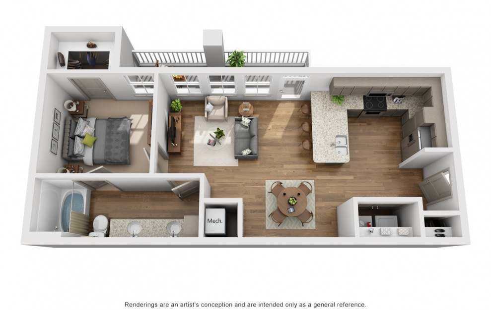 The Harpeth - 1 bedroom floorplan layout with 1 bath and 731 square feet. (3D)