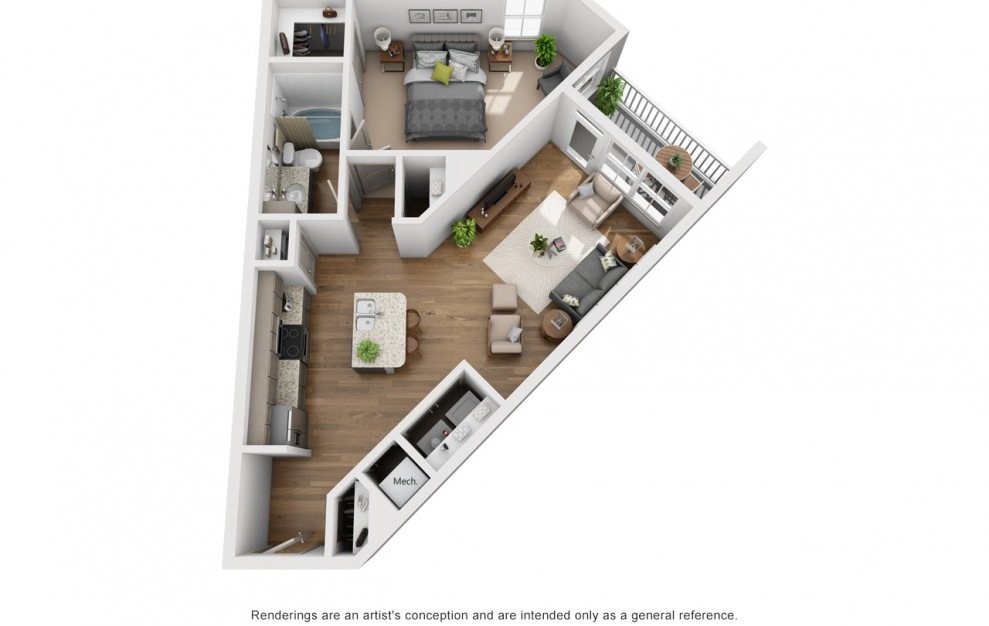 The Caney Fork - 1 bedroom floorplan layout with 1 bath and 780 square feet. (3D)