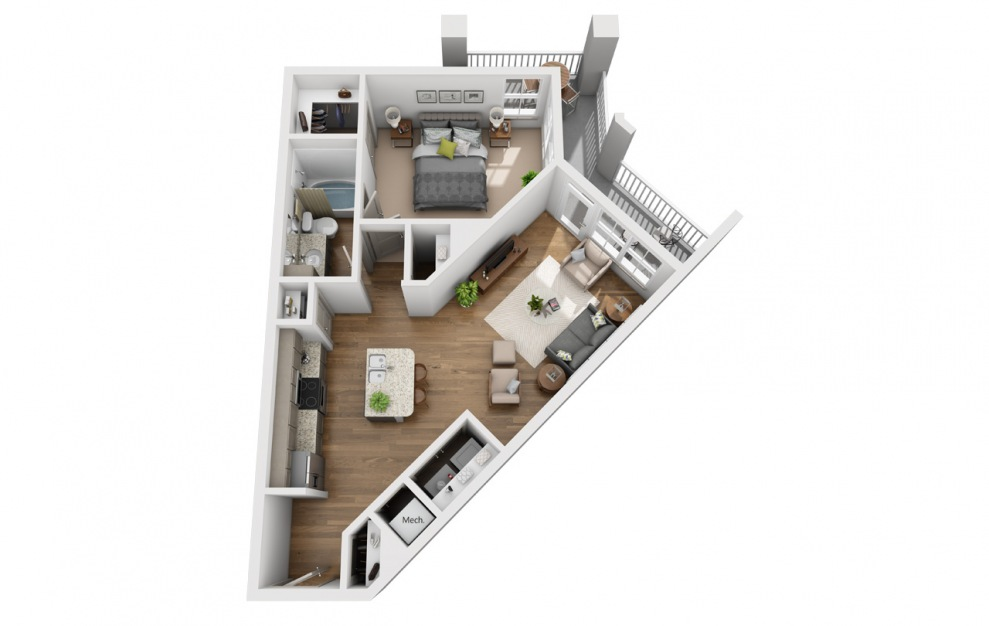 The Collins - 1 bedroom floorplan layout with 1 bath and 798 square feet. (3D)