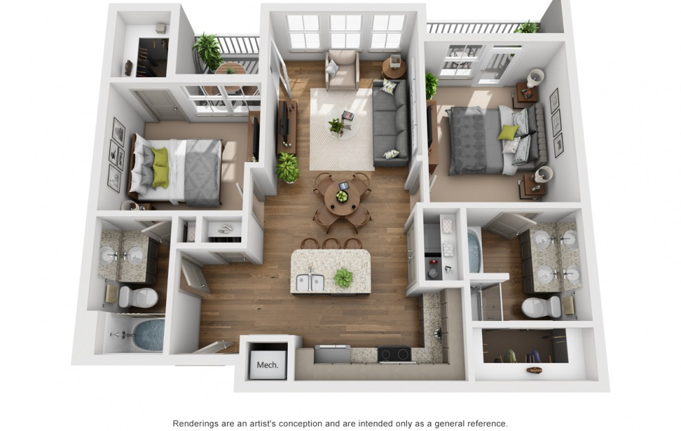 The Buffalo - 2 bedroom floorplan layout with 2 baths and 1099 square feet. (3D)