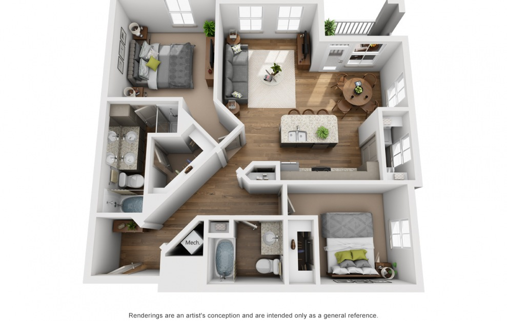 The Cumberland - 2 bedroom floorplan layout with 2 baths and 1265 square feet. (3D)