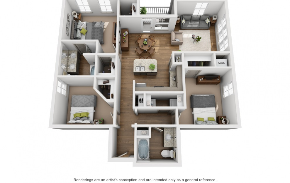 The Tennessee - 3 bedroom floorplan layout with 2 baths and 1412 square feet. (3D)