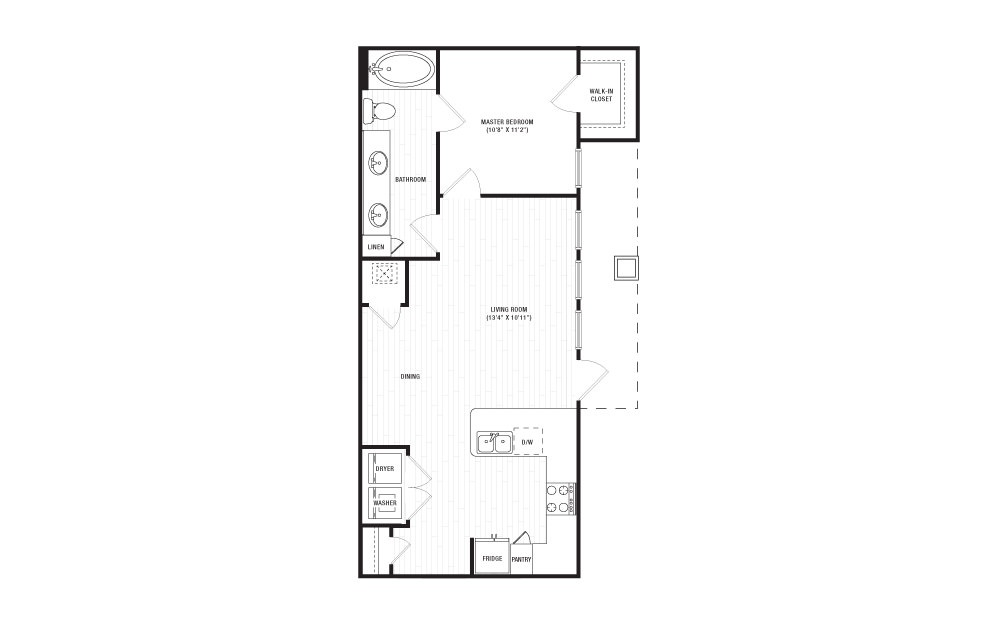 The Harpeth - 1 bedroom floorplan layout with 1 bath and 731 square feet.