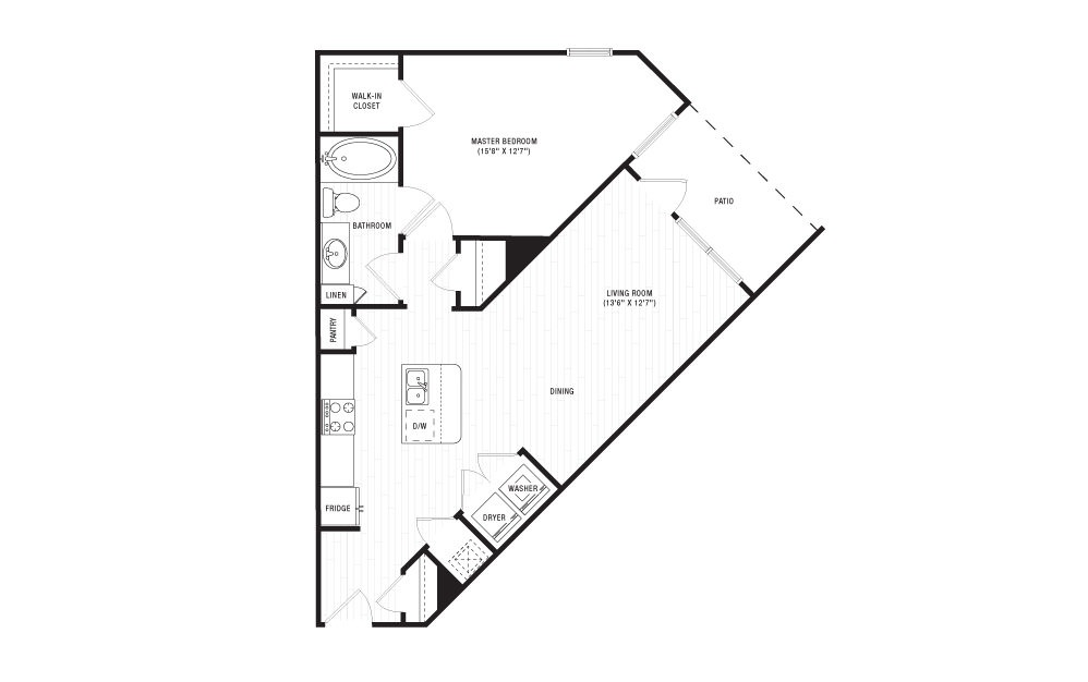 The Caney Fork - 1 bedroom floorplan layout with 1 bath and 780 square feet.