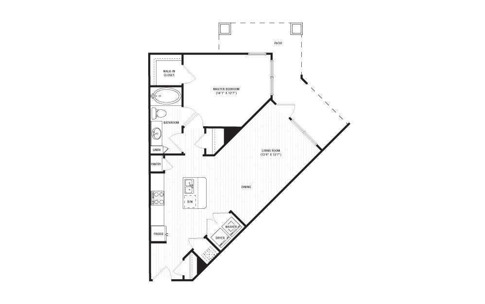 The Collins - 1 bedroom floorplan layout with 1 bath and 798 square feet. (2D)