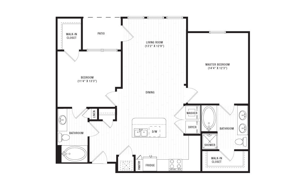 The Stones - 2 bedroom floorplan layout with 2 baths and 1079 square feet.
