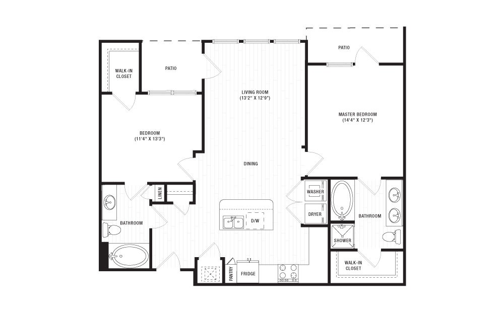 The Buffalo - 2 bedroom floorplan layout with 2 baths and 1099 square feet. (2D)