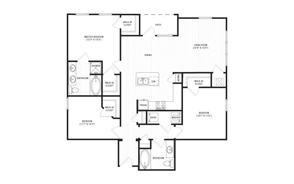 The Tennessee - 3 bedroom floorplan layout with 2 baths and 1412 square feet. (2D)